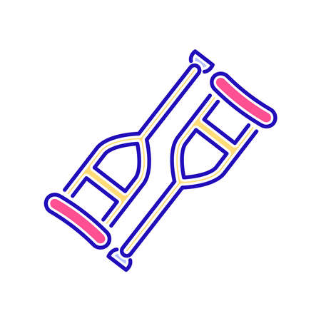 Axillary crutch color line icon. Isolated vector element. Outline pictogram for web page, mobile app, promo. Zdjęcie Seryjne - 149807855
