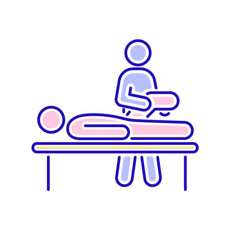 Physiotherapy line color icon. Rehabilitation, therapy concept. Injury treatment.Isolated vector element. Outline pictogram for web page, mobile app, promo.
