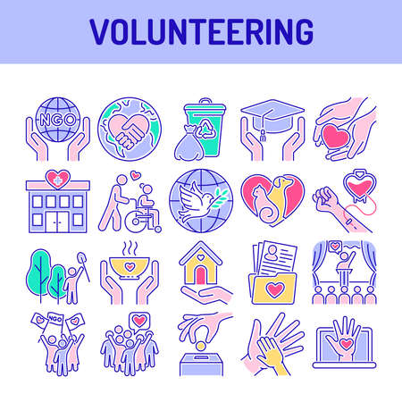 Volunteering color line icons set. Non profit community. Humanitarian aid. Signs for web page, mobile app, banner, social media.