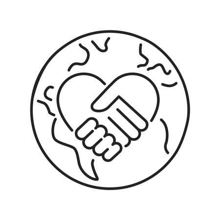 Volunteering black line icon. Non profit community. Outline pictogram for web page, mobile app, promo. Illustration