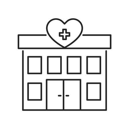 Hospital volunteering black line icon. 24 hours support sign. Palliative help.Outline pictogram for web page, mobile app, promo. Illusztráció