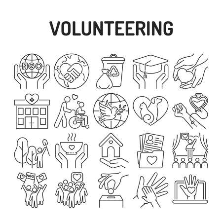 Volunteering black line icons set. Non profit community. Humanitarian aid. Signs for web page, mobile app, banner, social media. Illustration