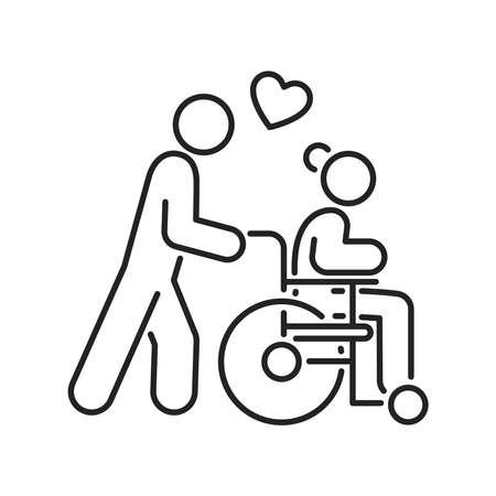 Hospice volunteer black line icon. Palliative help. Outline pictogram for web page, mobile app, promo.