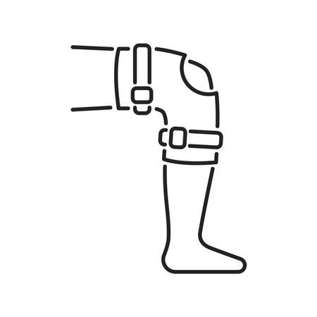 Orthopedic leg joint bandage black line icon. Rehabilitation and treatment after injuries and muscle strain. Isolated vector element. Outline pictogram for web page, mobile app, promo