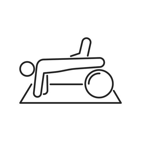 Physiotherapy line black icon. Rehabilitation, therapy. Isolated vector element. Outline pictogram for web page, mobile app, promo. Vector illustration
