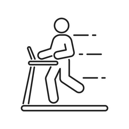 Man running on a treadmill black line icon. Cardio workout. Isolated vector element. Outline pictogram for web page, mobile app, promo. Vector illustration
