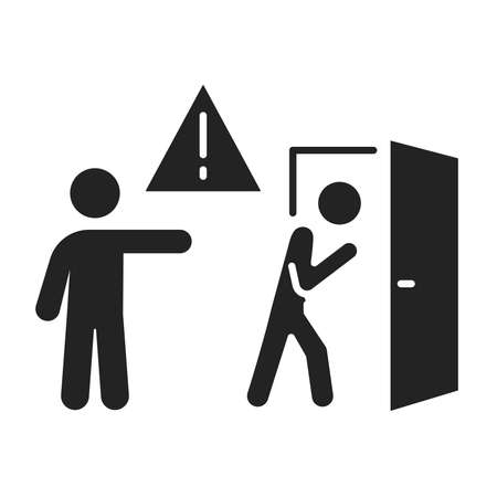 Discredit black glyph icon. Humiliation, insulting a person concept. Isolated vector element. Outline pictogram for web page, mobile app, promo. Vector illustration