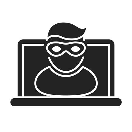 Cyber security and crime black glyph icon. Internet fraud. Computer thief stealing confidential data, personal information. Outline pictogram for web page, mobile app. Vector illustration Vettoriali