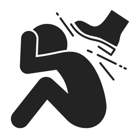 Physical bullying black glyph icon. Harassment, beat and violence. Isolated vector element. Outline pictogram for web page, mobile app, promo. Vector illustration