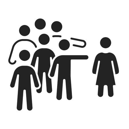 Social bullying black glyph icon. Harassment, social abuse and violence. Isolated vector element. Outline pictogram for web page, mobile app, promo