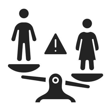 Gender discrimination and inequality black glyph icon. Violence in family. Men bullying women. Isolated vector element. Outline pictogram for web page, mobile app, promo Vecteurs