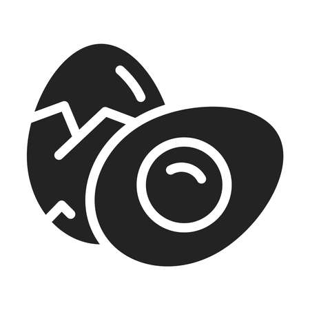Two boiled eggs black glyph icon. Healthy, organic food.