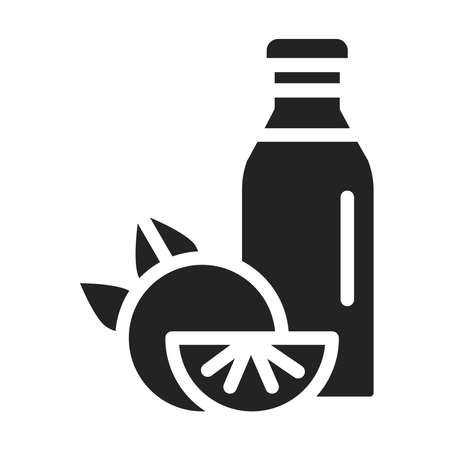 Bottle orange juice black glyph icon. Healthy, organic drink. Proper nutrition. Isolated vector element. Outline pictogram for web page, mobile app, promo. Ilustracja
