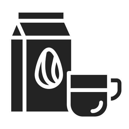 Almond milk black glyph icon. Vegetarian lifestyle. Lactose free. Healthy, organic food. Proper nutrition. Ilustracja