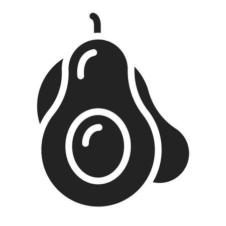 Avocado black glyph icon. Healthy, organic food. Natural vegetable. Ilustracja