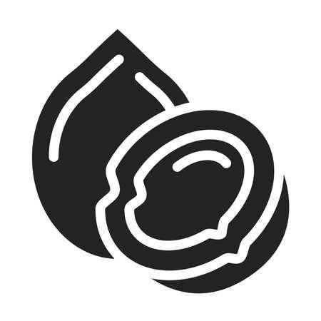 Coconut black glyph icon. Healthy, organic food. Proper nutrition. Ilustracja