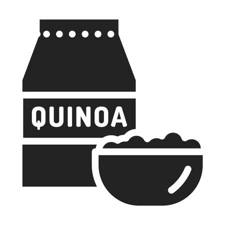 Quinoa package and bowl of porridge black glyph icon. Healthy, organic food. Proper nutrition.
