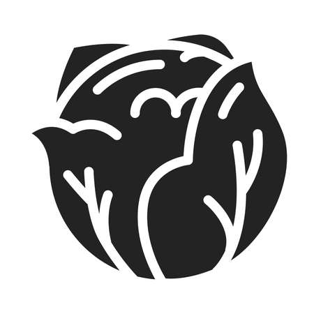 Cabbage black glyph icon. Healthy, organic food. Natural vegetable. Ilustracja
