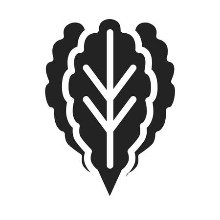 Greens black glyph icon. Healthy, organic food. Proper nutrition. Ilustracja