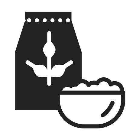 Oatmeal package and bowl of porridge black glyph icon. Healthy, organic food. Proper nutrition.