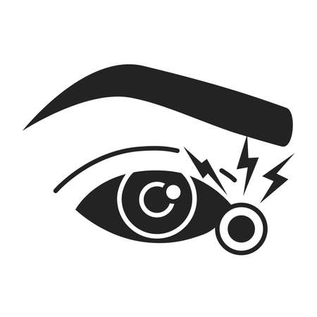 Acute eye pain black glyph icon. Eye inflammation. Allergy symptoms. Isolated vector element. Outline pictogram for web page, mobile app, promo.