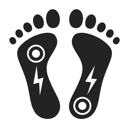 Acute pain foot black glyph icon. Sprain, injury. Isolated vector element. Outline pictogram for web page, mobile app, promo. Ilustracja