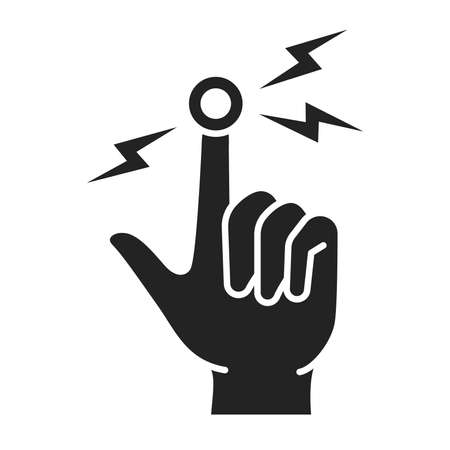 Acute finger pain black glyph icon. Sprain, injury. Isolated vector element. Outline pictogram for web page, mobile app, promo Ilustracja