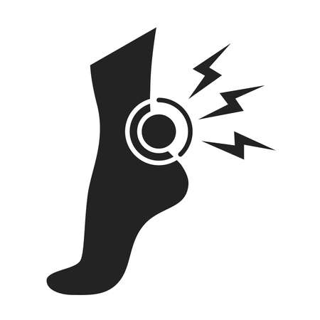 Acute pain foot black glyph icon. Sprain, injury. Isolated vector element. Outline pictogram for web page, mobile app, promo Ilustracja
