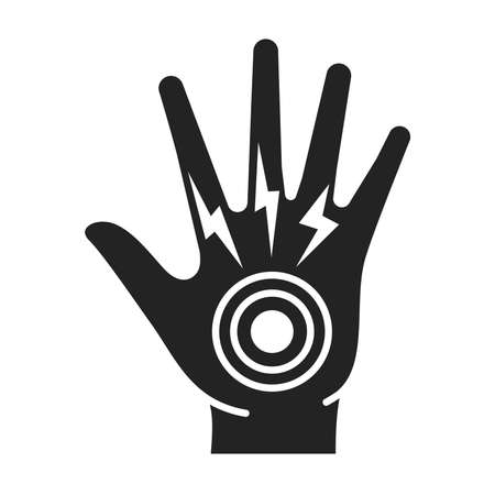 Acute hand pain black glyph icon. Sprain, injury. Isolated vector element. Outline pictogram for web page, mobile app, promo