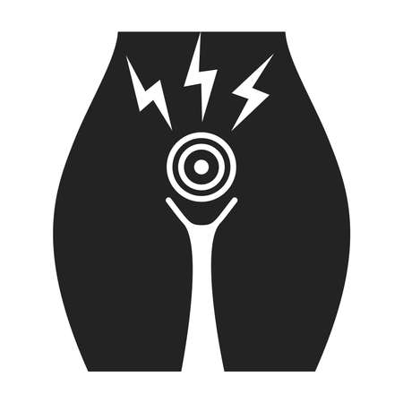 Acute menstrual pain black glyph icon. Female reproductive system disease. Woman health problems. Isolated vector element. Outline pictogram for web page, mobile app, promo