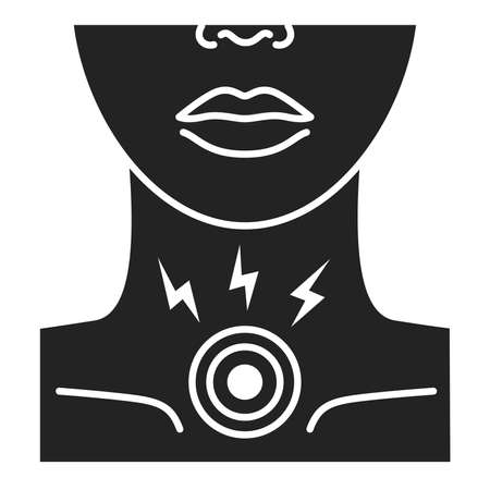 Acute sore throat black glyph icon. Inflammation larynx. Health problem. Sign for web page, mobile app, banner. Ilustracja