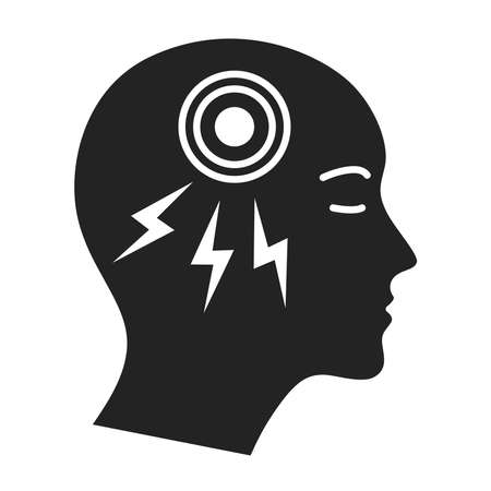 Acute headache black glyph icon. Isolated vector element. Outline pictogram for web page, mobile app, promo.