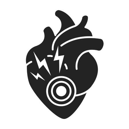 Heart attack black glyph icon. Disease of the human internal organ. Health problem. Sign for web page, mobile app, banner