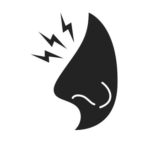 Acute nose pain black glyph icon. Runny nose. Health problem. Sign for web page, mobile app, banner