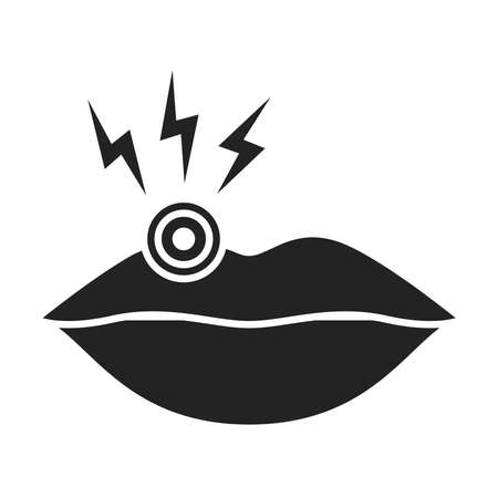 Acute pain lips black glyph icon. Infectious disease herpes. Isolated vector element. Outline pictogram for web page, mobile app, promo. Ilustracja