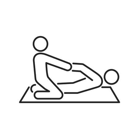 Physiotherapy line black icon. Rehabilitation, therapy concept. Injury treatment. Isolated vector element. Outline pictogram for web page, mobile app, promo.