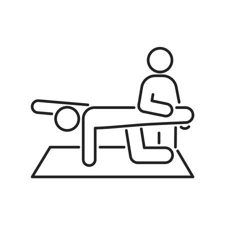 Physiotherapy line black icon. Rehabilitation, therapy concept. Injury treatment.Isolated vector element. Outline pictogram for web page, mobile app, promo.