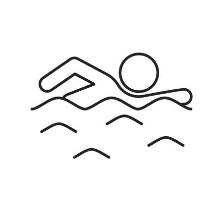Swimming man line black icon. Water swim sport concept. Isolated vector element. Outline pictogram for web page, mobile app, promo.
