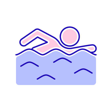 Swimming man line color icon. Water swim sport concept. Isolated vector element. Outline pictogram for web page, mobile app, promo.
