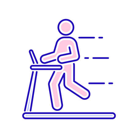 Man running on a treadmill color line icon. Cardio workout. Isolated vector element. Outline pictogram for web page, mobile app, promo. Stock Illustratie