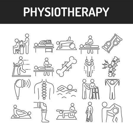 Physiotherapy line black icons set. Rehabilitation, therapy concept. Injury treatment. Isolated vector element. Outline pictograms for web page, mobile app, promo. Stock Illustratie