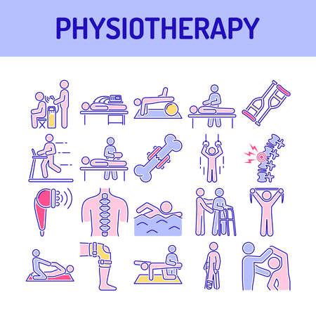Physiotherapy line color icons set. Rehabilitation, therapy concept. Injury treatment. Isolated vector element. Outline pictograms for web page, mobile app, promo.