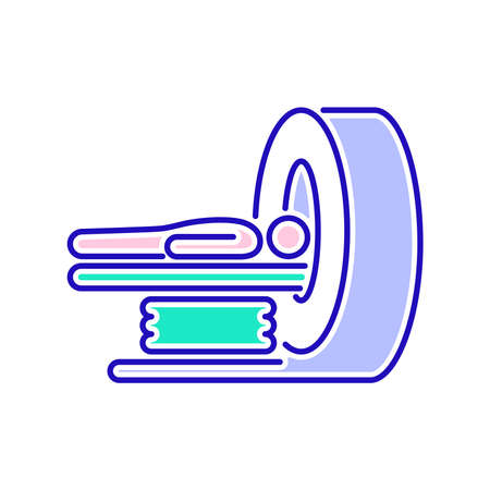 MRI machine scan device in hospital line color icon. Health care. Isolated vector element. Outline pictogram for web page, mobile app, promo.