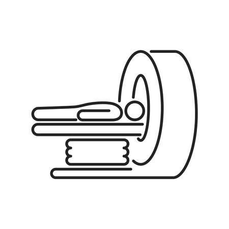 MRI machine scan device in hospital line black icon. Health care. Isolated vector element. Outline pictogram for web page, mobile app, promo.