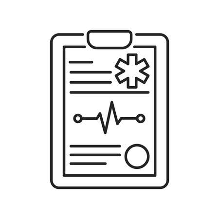 Medical clipboard black line icon. Patient card. Isolated vector element. Outline pictogram for web page, mobile app, promo Vector Illustration