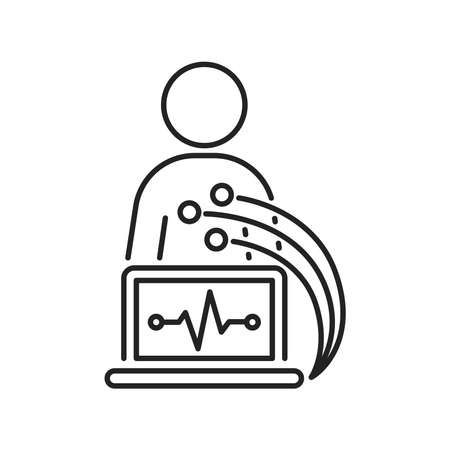 Electrocardiogram black line icon. Medical device for checking the patient's heart condition.Outline pictogram for web page, mobile app, promo.