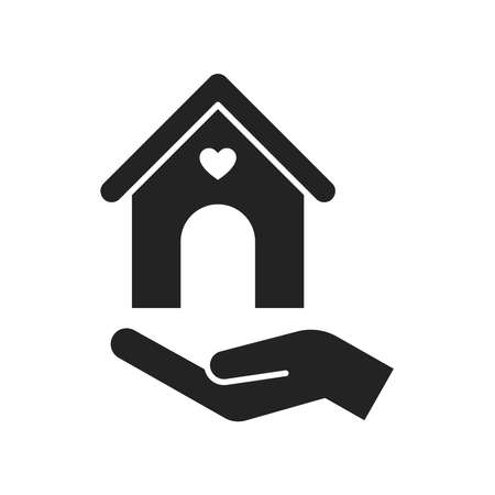 Help homeless black glyph icon. Charity concept for poor street people. Outline pictogram for web page, mobile app, promo.