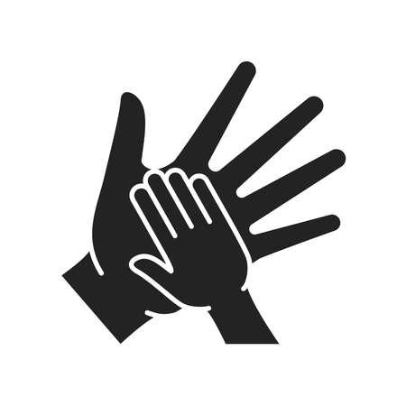 Volunteer childcare black glyph icon. Help poor street children. Outline pictogram for web page, mobile app, promo