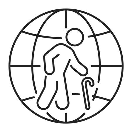 Population ageing black line icon. Eco problems. Isolated vector element. Outline pictogram for web page, mobile app, promo Ilustracja