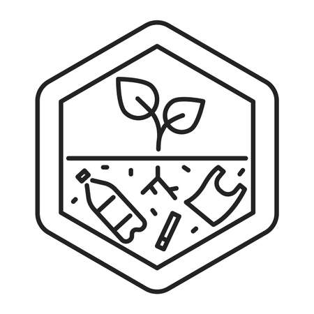 Land degradation black line icon. Ecological disaster. Isolated vector element. Outline pictogram for web page, mobile app, promo. Vector illustration Ilustracja